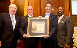 Dr. Bram Govaerts of CIMMYT accepted the 2014 Borlaug Field Award from Amb. Kenneth M. Quinn; Dr. Ronnie Coffman, Chariman of the Selection Committee; and C.D. Glin, Associate Director of the Rockefeller Foundation